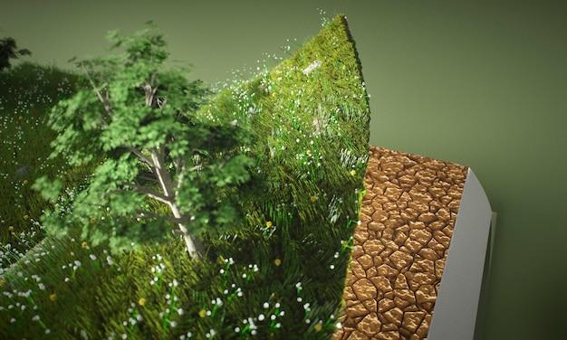 Abstracte bomen en grond in boekclose-up Gratis Foto