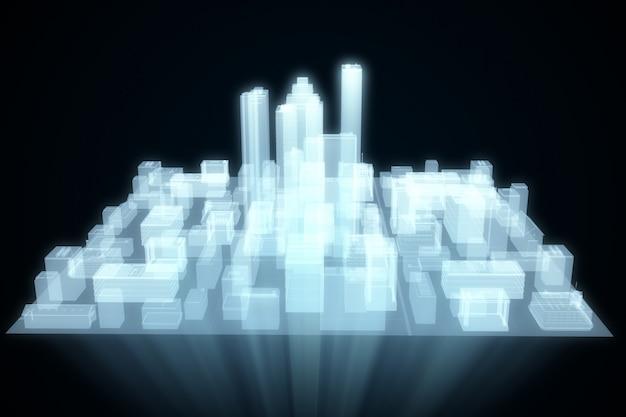 Abstracte futuristische stad hologram Premium Foto