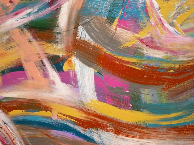 Abstracte heldere kleuren artistieke spatten, penseeltextuur, fragment van acrylverf op canvas. Premium Foto
