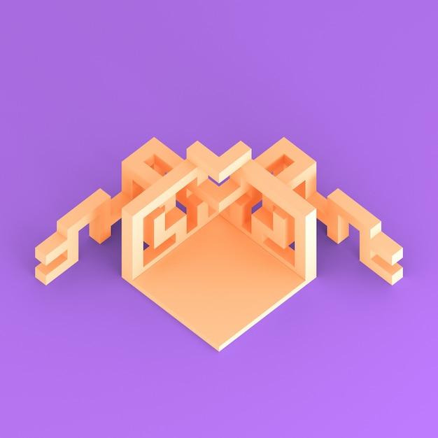 Abstracte isometrische opstelling van een uitbreidende kubus 3d illustratie Premium Foto