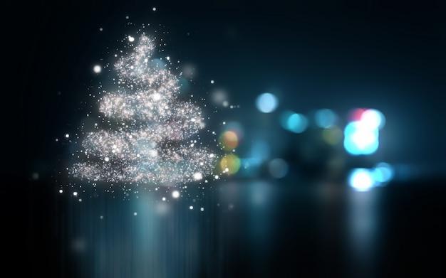 Abstracte kerstmisachtergrond met bokehlichten Gratis Foto