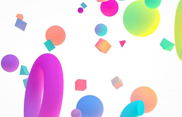 Abstracte kleurrijke 3d kunstachtergrond. holografische geometrische vormvorm die op wit geïsoleerde achtergrond drijft. memphis-stijl. Premium Foto