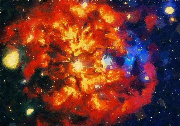 Abstracte kleurrijke aquarel voor achtergrond. ruimte handgeschilderde aquarel achtergrond. abstracte melkweg schilderij. kosmische textuur met sterren Premium Foto