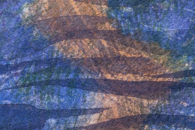 Abstracte kunst donkere marineblauwe en bruine kleuren als achtergrond. aquarel op doek met violet zacht verloop. Premium Foto