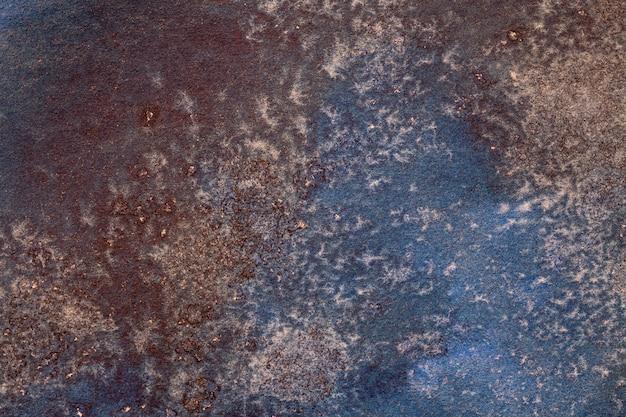 Abstracte kunst marineblauwe en bruine kleuren als achtergrond. Premium Foto