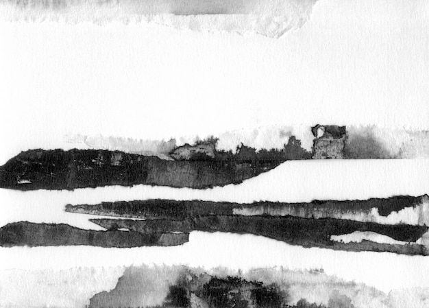 Abstracte landschap inkt hand getekende illustratie. zwart-wit inkt winterlandschap met rivier. minimalistische hand getekend Premium Foto