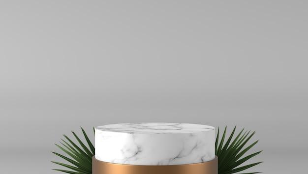 Abstracte luxe witte cilinder marmeren podium en gouden sokkel en groen blad op witte achtergrond. Premium Foto
