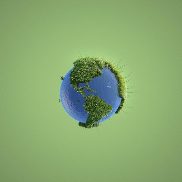 Abstracte milieuvertegenwoordiging op groene achtergrond Gratis Foto