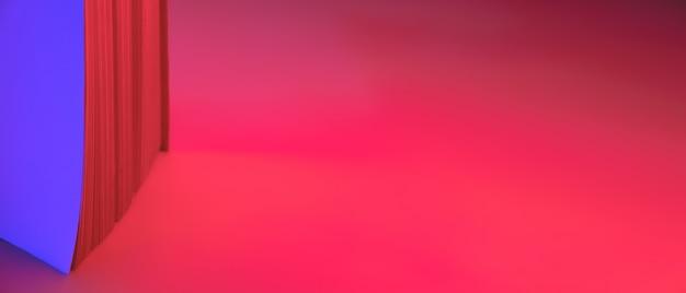 Abstracte neon banner, papieren pagina's van een boek. levendige blauwe en rode verloopkleuren als achtergrond Premium Foto