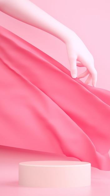 Abstracte pastel roze 3d-rendering scène met hand, stof en voetstuk. Premium Foto