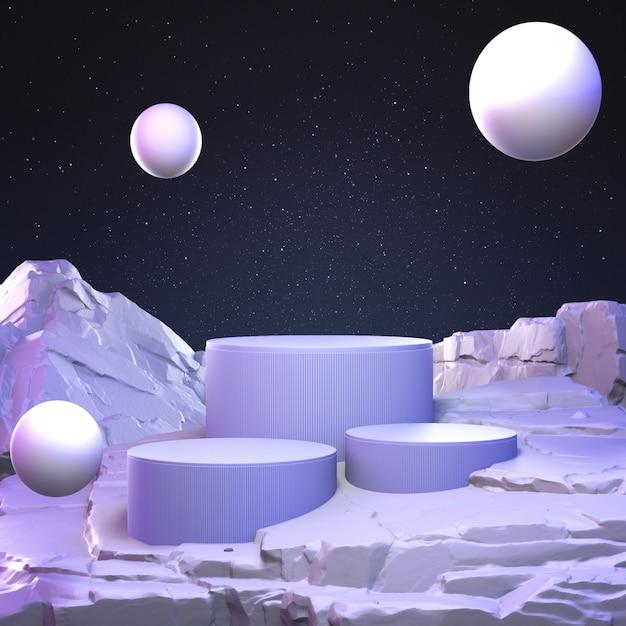 Abstracte pastelkleur geometrische steen en rotsvormachtergrond, minimalistisch voor podiumvertoning of showcase, het 3d teruggeven. Premium Foto