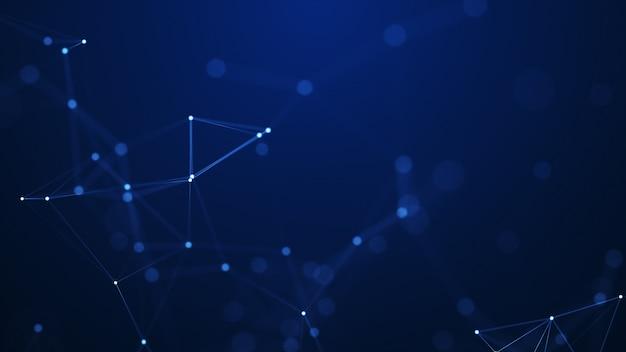 Abstracte plexus geometrische vormen. verbinding concept. digitale, communicatie- en technologienetwerkachtergrond. Premium Foto