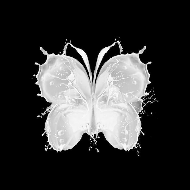 Abstracte plons van melk in vorm van vlinder op zwarte achtergrond. Premium Foto