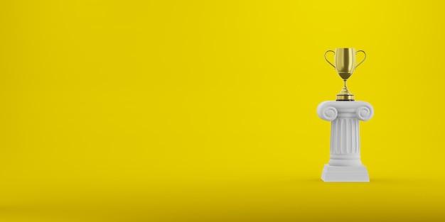 Abstracte podiumkolom met een gouden trofee bij het gele, 3d teruggeven Premium Foto
