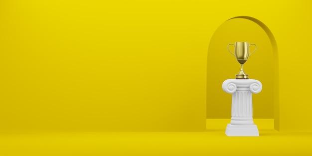 Abstracte podiumkolom met een gouden trofee op de gele achtergrond met boog. het overwinningsvoetstuk is een minimalistisch concept. vrije ruimte voor tekst. 3d-weergave. Premium Foto