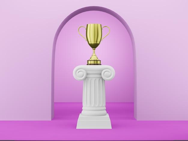 Abstracte podiumkolom met een gouden trofee op fuchsia Premium Foto