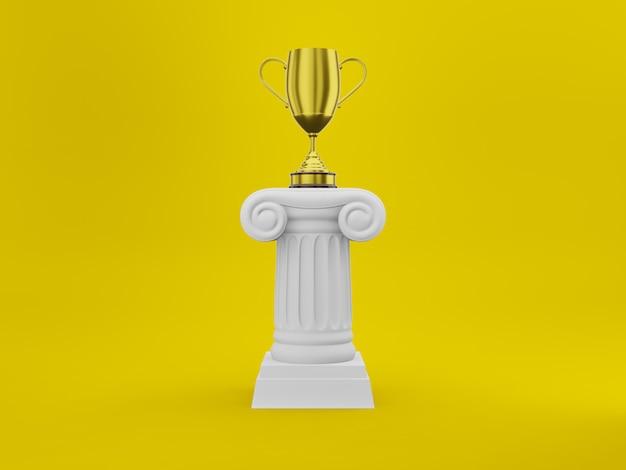 Abstracte podiumkolom met een gouden trofee op geel Premium Foto