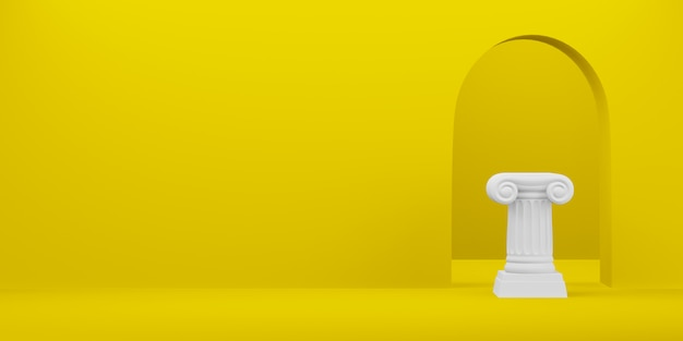Abstracte podiumkolom op de gele achtergrond met boog. het overwinningsvoetstuk is een minimalistisch concept. vrije ruimte voor tekst. 3d-weergave. Premium Foto
