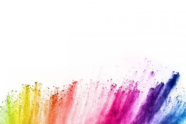 Abstracte poeder splatted achtergrond. kleurrijke poederexplosie op witte achtergrond. Premium Foto