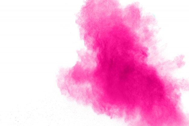 Abstracte roze poederexplosie op witte achtergrond. Premium Foto