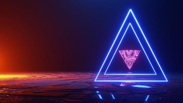 Abstracte ruimte, neonlicht driehoek, 3d render, universe concept, 3d render Premium Foto