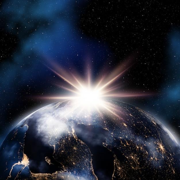 Abstracte ruimteachtergrond met nachtlichten op aarde Gratis Foto