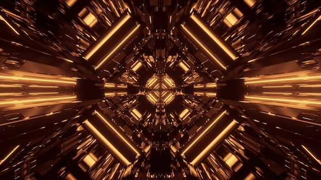Abstracte science fiction futuristische achtergrond met gouden neonlichten Gratis Foto