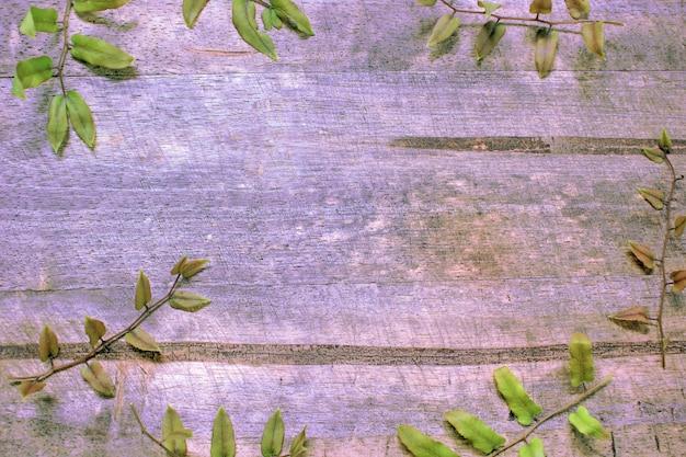 Achter de houten vloer met varenbladeren. Premium Foto