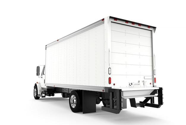 Achter witte vrachtwagen die op wit wordt geïsoleerd Premium Foto
