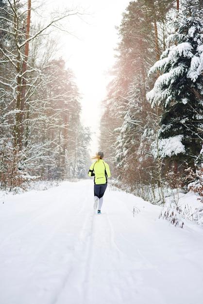 Achteraanzicht van de vrouw die in de winterbos loopt Gratis Foto