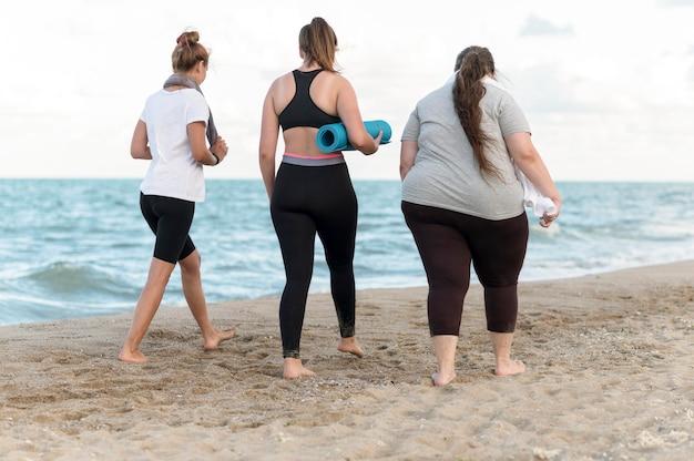 Achteraanzichtvrienden die op de kust lopen Gratis Foto