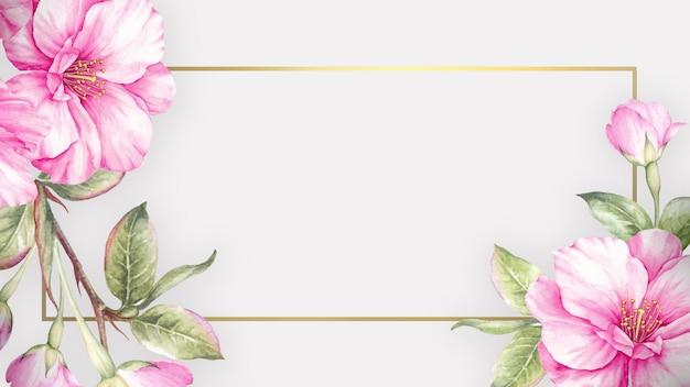 Achtergrond met aquarel sakura bloemen en elegant frame Premium Foto