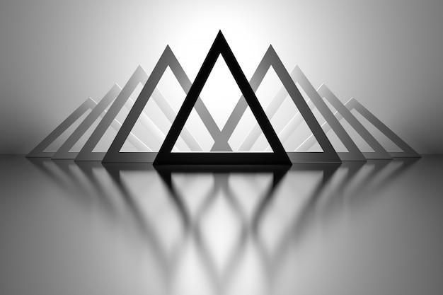 Achtergrond met driehoeken over spiegelvloer Premium Foto