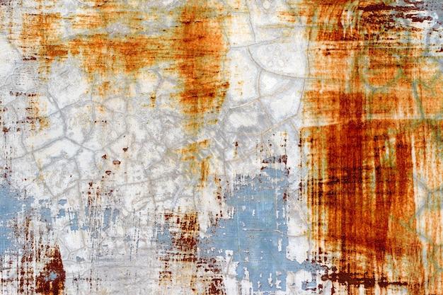 Achtergrond van afbladderende verf en roestig oud metaal Premium Foto