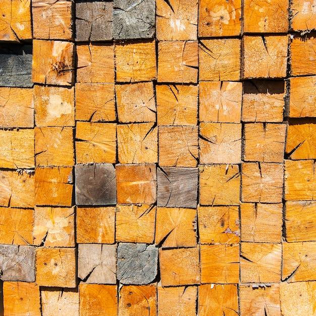 Achtergrond van gestapelde houtsnede Premium Foto