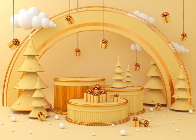 Achtergrond weergeven voor productpresentatie, kerstboom Premium Foto