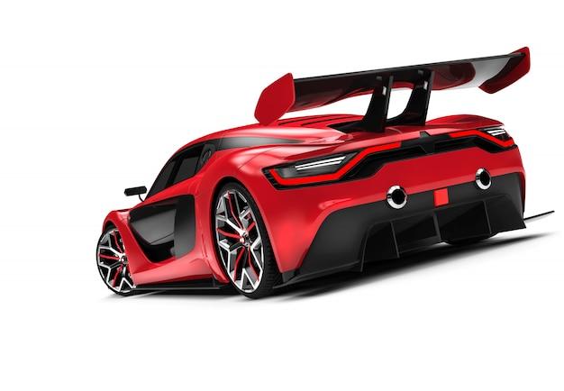 Achterkant van een rode aangepaste sportwagen Premium Foto