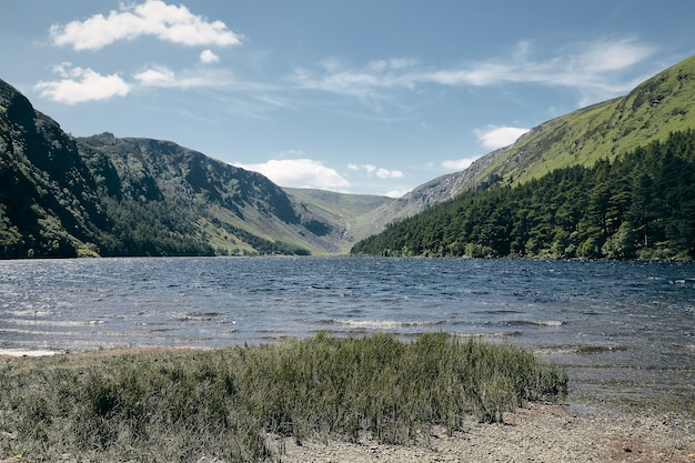 Adembenemend landschap van de kustlijn van wicklow mountains national park ballynabrocky Gratis Foto