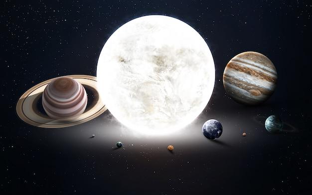 Afbeelding met hoge resolutie presenteert planeten van het zonnestelsel. deze afbeeldingselementen ingericht door nasa Premium Foto