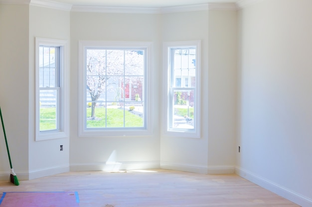 Afgemaakte sheetrock in nieuwe woningbouw Premium Foto