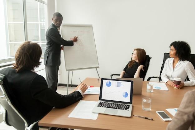 Afrikaans-amerikaanse zakenman die presentatie geeft die nieuw marketing plan op vergadering verklaart Gratis Foto