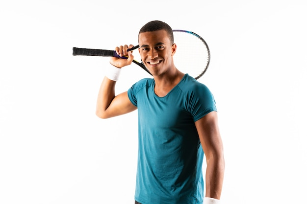 Afro-amerikaanse tennisspeler man Premium Foto