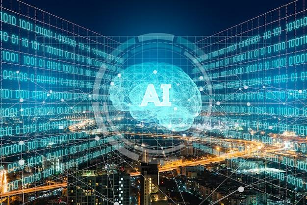 Ai (kunstmatige intelligentie) en geavanceerd stadssysteem. Premium Foto