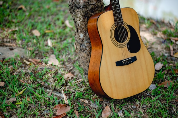 Akoestische gitaar, een zeer goed klinkend instrument Premium Foto