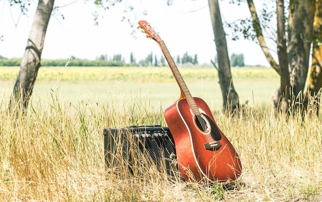 Akoestische gitaaraard, het concept van muziek en natuur Gratis Foto