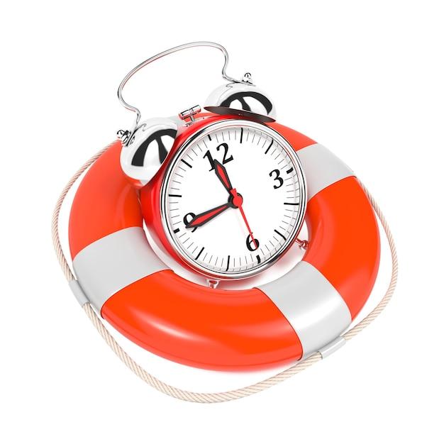 Alarmclock in reddingsboei op witte achtergrond. bewaar het tijdconcept. Premium Foto