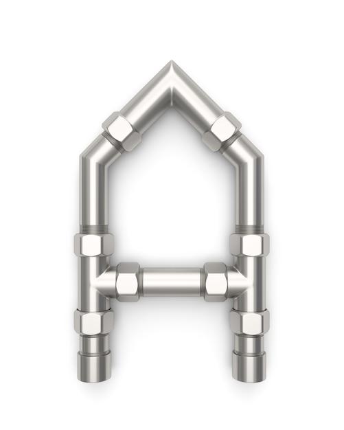 Alfabet gemaakt van metalen pijp, letter a 3d-rendering Premium Foto