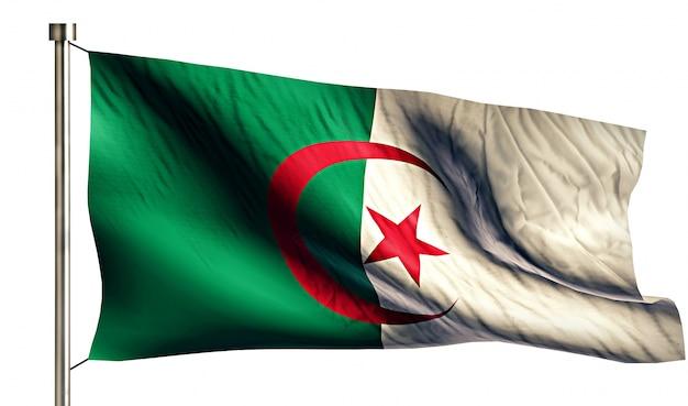Algerije nationale vlag geïsoleerde 3d witte achtergrond Gratis Foto