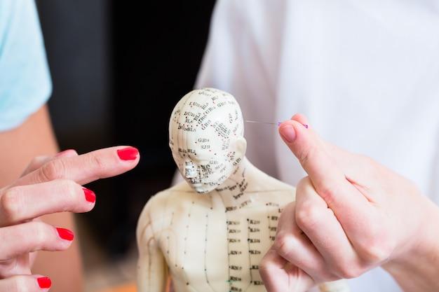 Alternatieve beoefenaar die acupunctuur verklaart Premium Foto