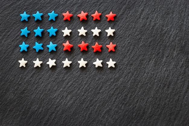 Amerikaanse vlag achtergrond concept 4 juli independence day. Premium Foto